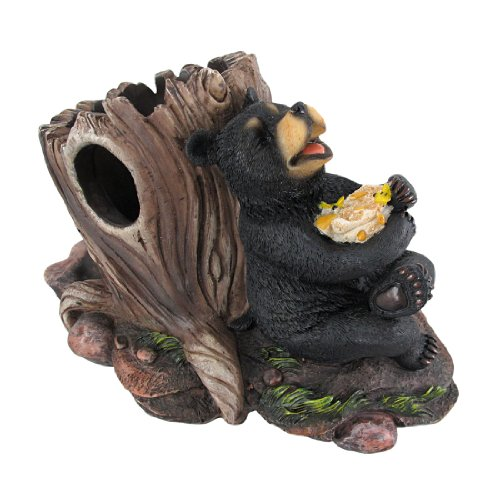 `Sip of Bliss` Black Bear and Beehive Tabletop Single Wine Bottle Holder
