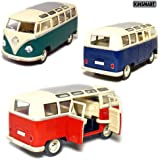 "Set of 3: 6½"" 1962 Volkswagen Classic Bus 1:24 Scale (Blue/Green/Red)"