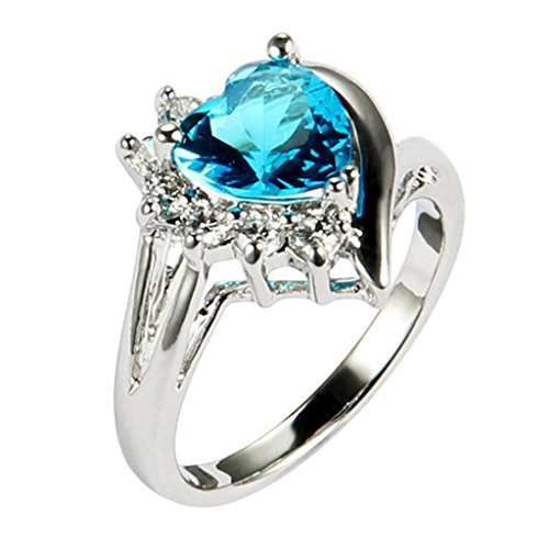 Amdxd Jewelry 18K Gold Plated Women'S Fashion Figure Rings Retro Heart Unique Design Ocean Blue Us Size7