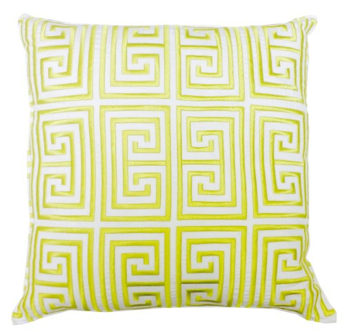 Trina Turk Trellis Black Greek Key Embroidered Decorative Pillow, 20 By 20-Inch, Lime front-623481