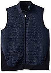 Perry Ellis Men's Big and Tall Quilted Mix Media Zip Vest, Dark Sapphire, 2X