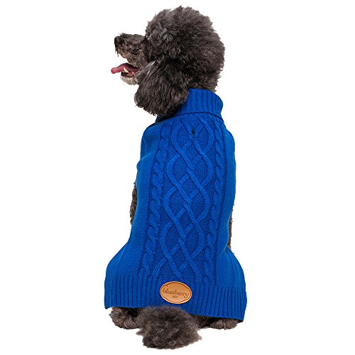 """Blueberry Pet 12"""" Back Length Sweater For Dogs The Classy Cable Knit Royal Blue Dog Sweater, Medium front-455543"""