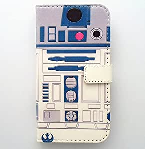r2d2 robot blue and wwhite pattern slim wallet card flip stand pu leather pouch case. Black Bedroom Furniture Sets. Home Design Ideas