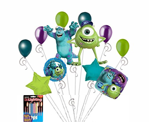12 pc Disney Monsters University Sully Mike Happy Birthday Balloon Bouquet Party