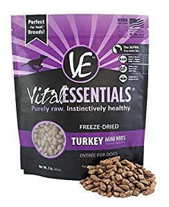 Vial Essentials Freeze Dried Raw Dog Food (Turkey, Mini Nibs 1lb)