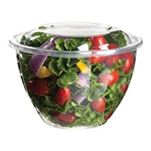 Eco-Products EP-SB48 Plant-Based Plastic Renewable and Compostable Salad Bowl with Lid, 48oz Capacity (6 Packs of 25)