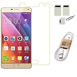 APS GOLD Gionee Marathon M5 Plus TEMPERED GLASS WITH SIM ADAPTER + USB DATA CABLE ACCESSORY COMBO