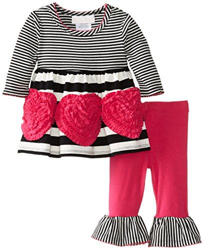 Bonnie Baby-Girls Newborn Bonaz Heart Applique Legging Set, Fuchsia, 3-6 Months back-1070044