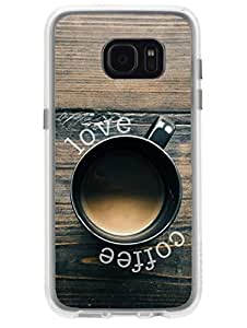 Madanyu Love Coffee - 2D Glossy Back Case Cover For Samsung S7 Edge - Transparent Sides