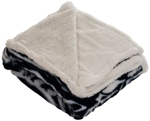 Bedford Home Throw Blanket, Fleece/Sherpa, Zebra