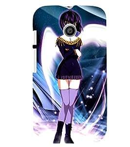 Printvisa Short Dressed Girl With Colourfull Background Back Case Cover for Motorola Moto E XT1021::Motorola Moto E (1st Gen)