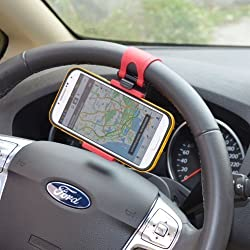 Universal Car Steering Wheel / Bike Handlebar Clip Mount Holder Stand Cradle for Apple iPhone 5 5S 5C 4S 4, iPod touch, Samsung Galaxy S5 S4 S3, Cell Phone, Mobiles, Smartphone, Android Phone, PDA, MP4, MP4, GPS, PAD