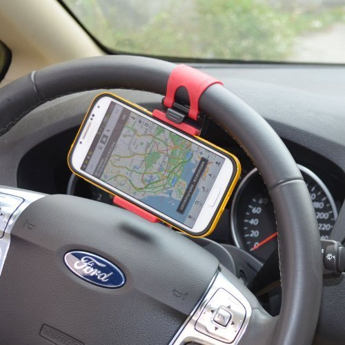 Universal Car Steering Wheel/Bike Handlebar Clip Mount Holder Stand Cradle for Apple iPhone 5 5S 5C 4S 4, iPod touch, Samsung Galaxy S5 S4 S3, Cell Phone, Mobiles, Smartphone, Android Phone, PDA, MP4, MP4, GPS, PAD, Width less than 7.3.cm (Phone Accessories For S3 compare prices)