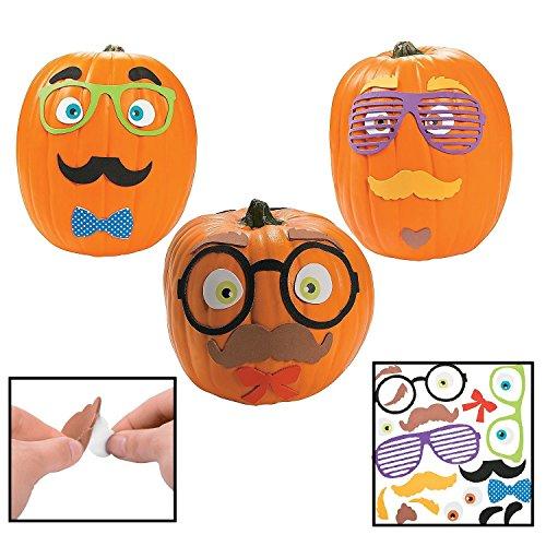 Funny Foam Mustache Pumpkin Decorating Craft Kit (Makes 12) - Halloween Decor