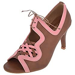 RUNWAY REBEL Womens Brown and Pink PU Stilettoes 4 UK