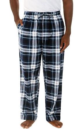 Del Rossa Men's 100% Cotton Flannel Pajama Pants - Sleep Bottoms, Large Blue and White Plaid (A0705P27LG)