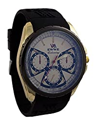 Addic EWWE Stylish Laser Cut Blue Bezel And Silver Case With Black Strap And White Dial Sports Watch For Men (32) - B01DRNS332