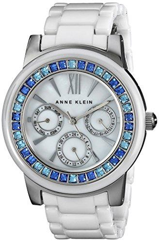 Anne Klein Women's AK/1683BLWT Blue Swarovski Crystal-Accented Watch with White Ceramic Bracelet