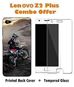 Lenovo Z2 Plus Bike Printed Multicolor Hard Back Cover with Premium Tempered Glass Combo By Make My Print