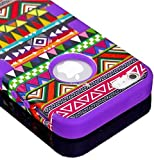 myLife (TM) Deep Purple - Colorful Tribal Print Series (Neo Hypergrip Flex Gel) 3 Piece Case for iPhone 5/5S (5G) 5th Generation iTouch Smartphone by Apple (External 2 Piece Fitted On Hard Rubberized Plates + Internal Soft Silicone Easy Grip Bumper Gel)