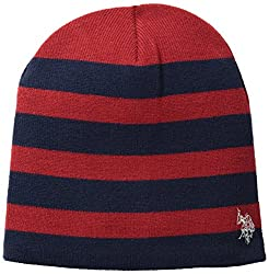 U.S. Polo Assn. Men's Striped Reversible Beanie, Navy, One Size