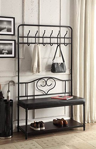 Black Metal and Bonded Leather Entryway Shoe Bench with Coat Rack Hall Tree Storage Organizer 12 Hooks - 40
