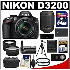 Nikon D3200 Digital SLR Camera & 18-55mm G VR DX AF-S Zoom Lens (Black) with 55-200mm VR Lens + 64GB Card + Case + Battery + Grip + Tripod + Lens Set + Filters Kit