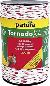 Patura Tornado XL Seil, 200 m Rolle 8 Niro 0,20 mm, 3 Cu 0,30 mm, weiss-rot