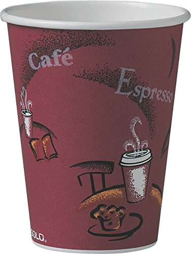 SOLO 412SIN-0041 Single-Sided Poly Paper Hot Cup, 12 oz. Capacity, Bistro (Case of 1,000)