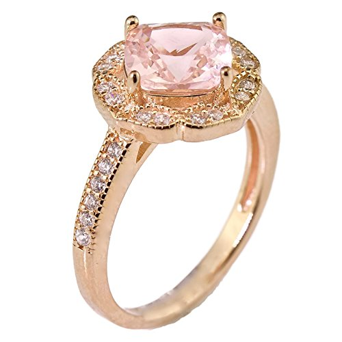 Cushion Cut Created Pink Morganite Floral Halo Engagement Ring Rose Gold Over Sterling Silver Size 7 (Floral Engagement Ring compare prices)