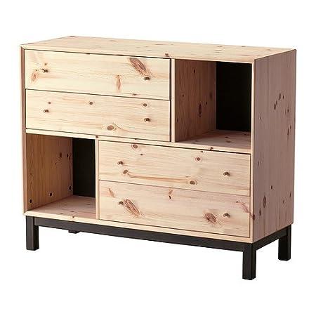 IKEA Nornäs - Kommode mit 4 Schubladen / 2 Fächer, Kiefer, grau - 108x88 cm