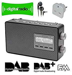 PANASONIC RF-D10 HIGH QUALITY PORTABLE DAB - DAB+ - SMART NETWORKING FM - 10 DIRECT STATION KEYS - CLOCK/TIMER - LARGE LCD DISPLAY - MAINS & BATTERY in BLACK INCLUDES EU MAINS PLUG CONVERTER. and HIGH QUALITY MAXELL IN EAR HEADPHONES