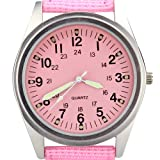 Orkina Womens Silver Case Pink Dial Quartz Nylon Fabric Band Fashion Wrist Watch P104-SP