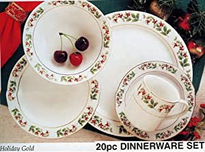 20pc Holiday Gold Collection Christmas Dinnerware Set