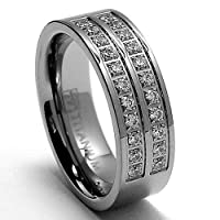 6MM High Polish Ladies Titanium Ring with Pave Set CZ sizes 6 to 8