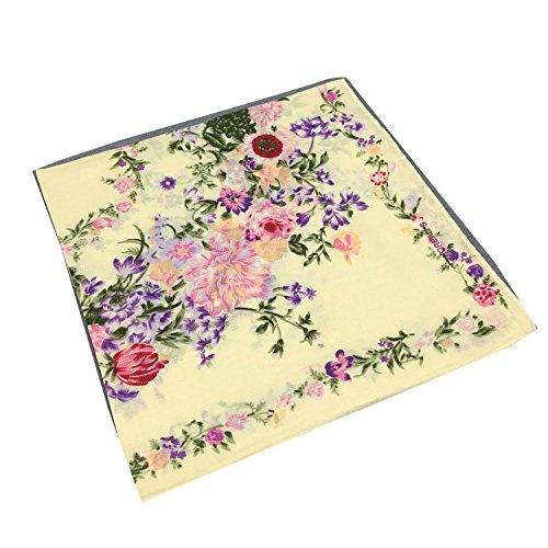Forlisea Women Flower Print Handkerchief Cotton Hanky 5