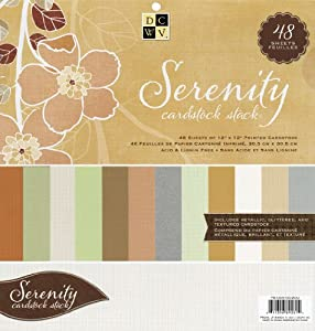 Die Cuts with A View 12-Inch by 12-Inch Solid Cardstock Stack, Serenity