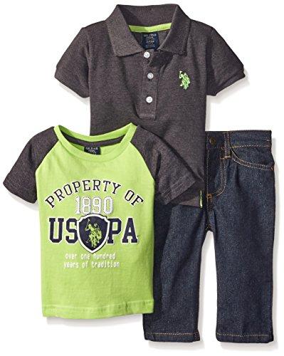 U.S. Polo Assn. Little Boys 3 Piece Short Sleeve Shirt Color Block and Denim Jean, Neon Green, 7
