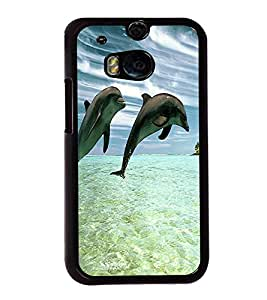printtech Dolphin Ocean Water Back Case Cover for HTC One M8::HTC M8