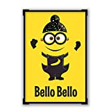 PosterGuy Bello Bello Despicable Me Inspired Minion Singh(Yellow) Funny Illustration Framed Poster
