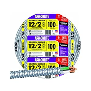 Southwire 68580023 100-Feet 12/2 Type 12-Gauge 2 Conductors MC Solid Metal Clad Cable with Aluminum Armor and Green Insulated Ground Wire