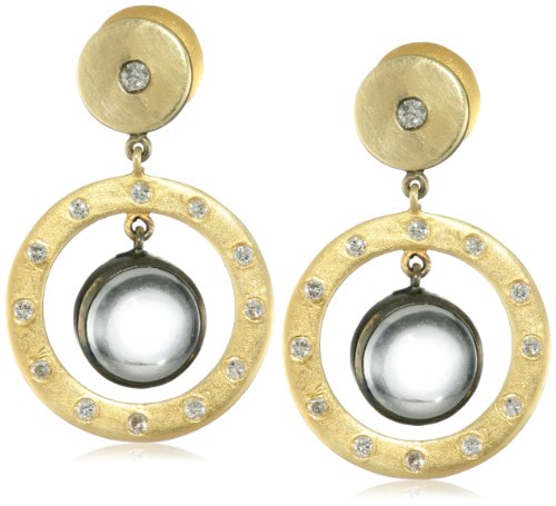 Lauren Harper Collection Mirage 18k Gold, Black Silver, Crystal Quartz and Diamond Post Earrings