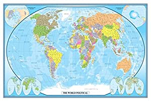 24x36 world classic wall map poster mural for Amazon world map mural