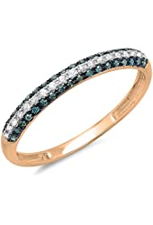 0.25 Carat (ctw) 14k Gold Round Blue & White Diamond Ladies Pave Set Anniversary Wedding Band Stackable Ring 1/4 CT