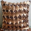 Copper Age - Decorative Pillow Covers - Silk Pillow Cover with 3D Metallic Leather