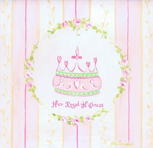 The Kids Room by Stupell Her Royal Highness Crown with Yellow and Pink Stripes Wall Plaque