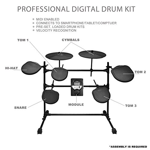 Pyle PED021M - 9 Piece Electric Drum Set with 5 Pads 2 Crash Cymbals and 2 Kick Pedals - MP3 Play Along and Headphone Compatible - 33 Adjustable Sound Presets and MIDI Output
