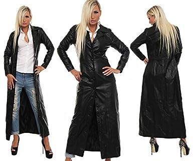 Ledermantel echt Leder langer Mantel Rindsleder schwarz Knopfleiste alle Größen