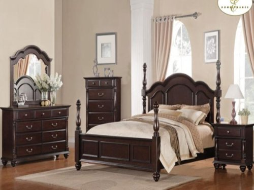 Townsford 5 Pc Queen Bedroom Set With Chest By Home Elegance In Dark Cherry front-1071201