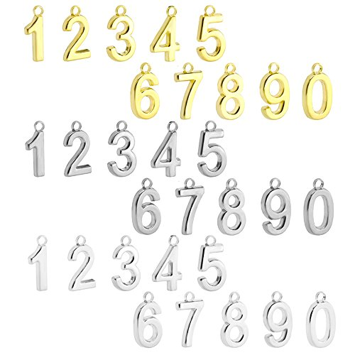 Beadnova 30 Pcs Assorted Rhodium Gold Silver Plated Satin Number 0-9 Charm Pendants For Fashion Bracelet Jewelry Making. (Gold Charm Numbers compare prices)